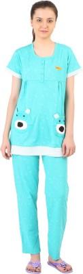 Informal Wear Women's Printed Light Blue Top & Pyjama Set
