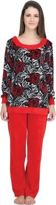 She N She Women's Printed Red Top & Pyjama Set