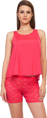SOIE Women's Embroidered Red Top & Shorts Set