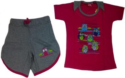 Tomato Girl's Printed Pink Top & Shorts Set