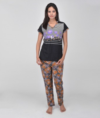 World Of Fashion Women's Printed Purple Top & Pyjama Set