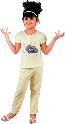 Chocoberry Rose Girl's Printed Yellow Top & Pyjama Set
