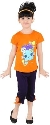 Bella & Brat Girl's Printed Orange, Black Top & Shorts Set