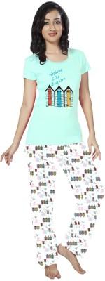 So Sweety Women's Printed Light Blue Top & Pyjama Set