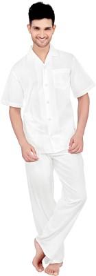 Tatwam Woven Men's Solid White Top & Pyjama Set
