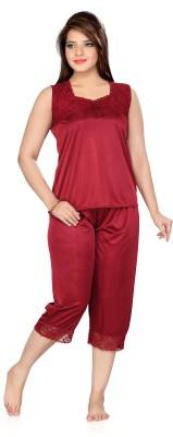Ishin Women's Solid Maroon Top & Capri Set