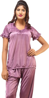 DesiHarem Women,s Solid Purple Top & Pyjama Set