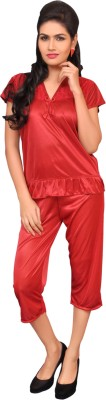 Melisa Women's Embellished Red Top & Capri Set