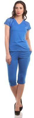 Ultrafit NS2Pcs Women's Solid Blue T-shirt & Three-forth Set