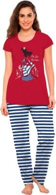 So Sweety Women's Printed Red Top & Pyjama Set