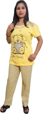 Indiatrendzs Women's Printed Yellow Top & Pyjama Set