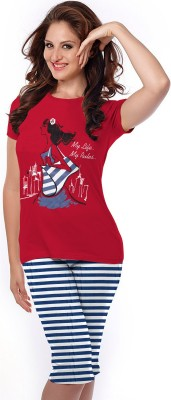 So Sweety Womens Printed Red Top & Capri...