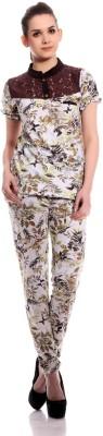 TAB91 Jump123 Women's Printed Brown Top & Pyjama Set
