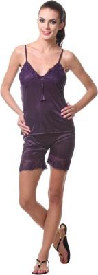 Affair Women's Solid Purple Top & Shorts Set