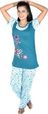 Rosabela Women's Printed Light Blue Top & Pyjama Set