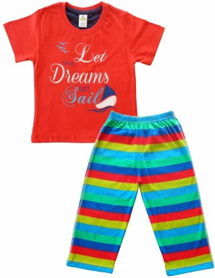Tiny Bee Baby Boy's Printed Red T-shirt & Three-forth Set