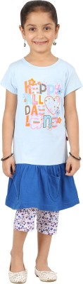 SPN Garments Girl,s Printed Blue, Purple, Dark Blue Top & Capri Set