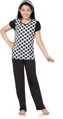 Kombee Girl's Printed White, Black Top & Pyjama Set