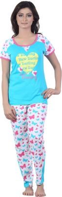 New Darling Triheart Flies Women's Printed Blue, White Top & Pyjama Set