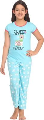 Kanvin Girl's Printed Blue Top & Pyjama Set
