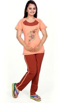 MAHAARANI Women's Printed Brown Top & Pyjama Set