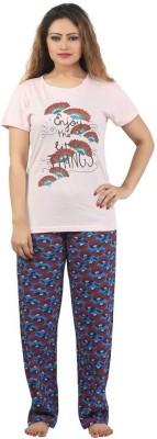 Sunwin Women's Floral Print Pink, Blue Top & Pyjama Set