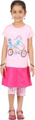 SPN Garments Girl,s Graphic Print Pink, White Top & Capri Set