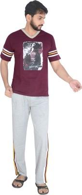 Speed Ball Men's Printed Pink, Grey Top & Pyjama Set