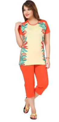 Div Women's Printed Orange Top & Capri Set