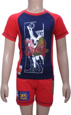 Bermuda Boy,s Graphic Print Red, Dark Blue Top & Shorts Set