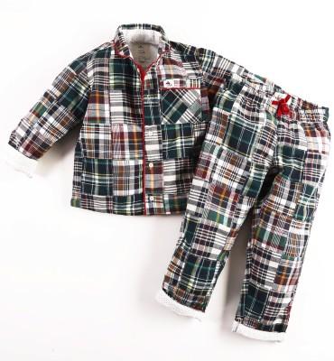 Cherry Crumble California Baby Girl's Checkered Green Top & Pyjama Set