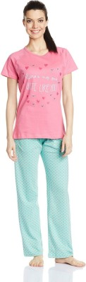 July Comfy Cotton Designer Two Piece Women's Printed Pink, Blue Top & Pyjama Set