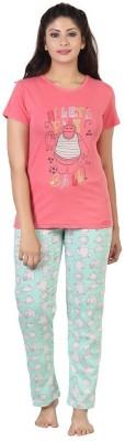 Sunwin Women's Printed Pink, Green Top & Pyjama Set