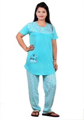 UNO COTTON Men's Printed Light Blue Top & Pyjama Set