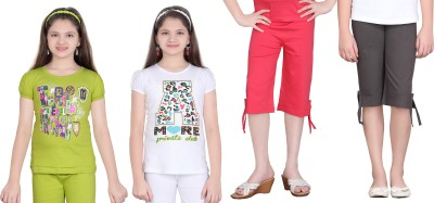 Sini Mini Girls Printed Multicolor Top & Capri Set