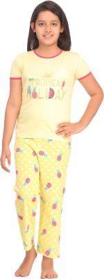 Kanvin Girl's Printed Yellow Top & Pyjama Set