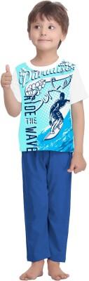 La Dreamz Boy's Printed White Top & Pyjama Set