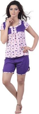 New Darling Women's Printed Pink, Purple Top & Shorts Set