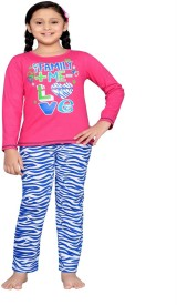 Punkster Kids Nightwear Girls Graphic Print Cotton(Pink Pack of 2)
