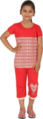 Meril Girls Printed Red Top & Capri Set