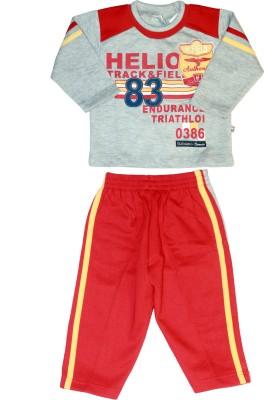 Babiano Baby Boys Printed Grey, Red Top & Pyjama Set