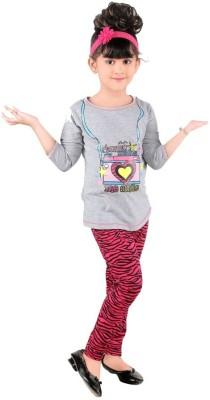 Bella & Brat Girl's Printed Grey, Pink Top & Pyjama Set