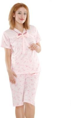 EVA Women's Printed Pink Top & Capri Set