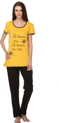 Rose Taylor Women's Printed Yellow Top & Pyjama Set