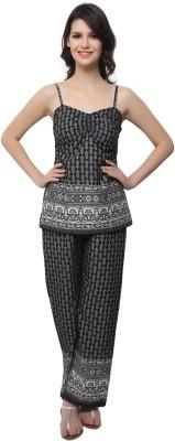Clovia Women's Printed Black Top & Pyjama Set