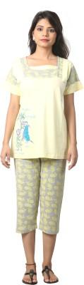 Elite Women's Printed Yellow Top & Capri Set