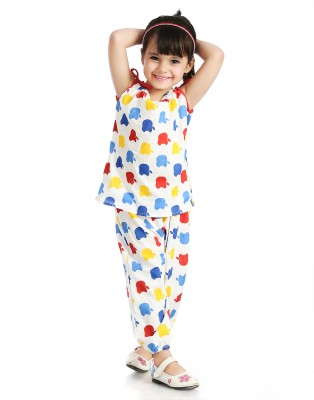 Little Pocket Store Baby Girl's Printed Red Top & Pyjama Set