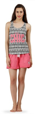 The Boxer Store Women's Printed Pink Top & Shorts Set