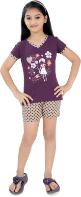 Just4You Girl's Printed Purple Top & Shorts Set