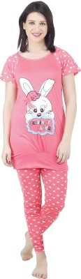 Camey Women's Printed Pink Top & Pyjama Set